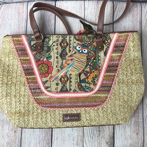 Sakroots | Straw bag with embroidered owl